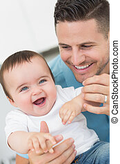 Happy baby with father  - Happy baby boy with father at home