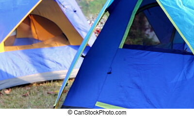 Closeup to Tent camping