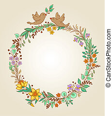 Wreath of flowers and leaves