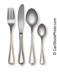 Fork, knife and spoon isolated on white background with...