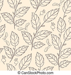 Seamless pattern with elm branches - Vector autumn seamless...