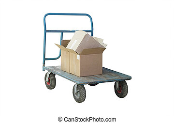 Luggage trolley isolated under the white background