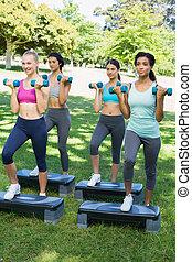 Sporty women doing step aerobics wi