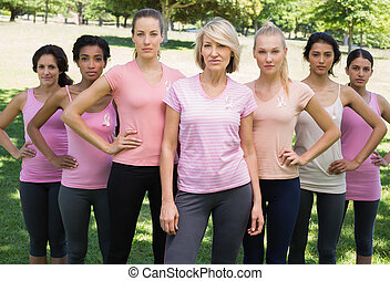 Women supporting breast cancer awareness - Portrait of...