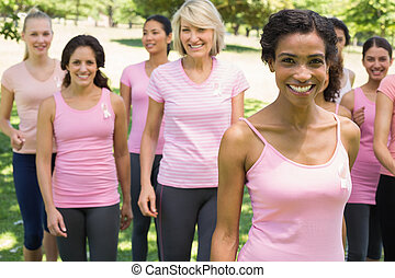 mulheres, participar, peito, câncer, consciência, parque
