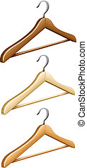 Set of wooden coat hangers for wardrobe clothes