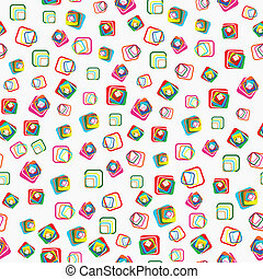 Seamless vector pattern with squares with rounded corners -...