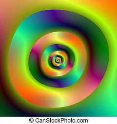 Psychedelic Inside Outside Rings - Digital abstract fractal...