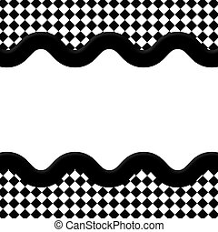 diamante, centro, classico, cornice, onda,  copy-space, nero, fondo, bianco, nastro