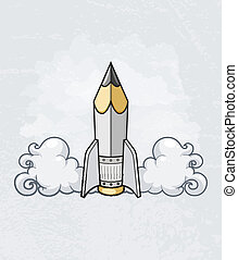 Creative design concept with pencil tool as rocket -...