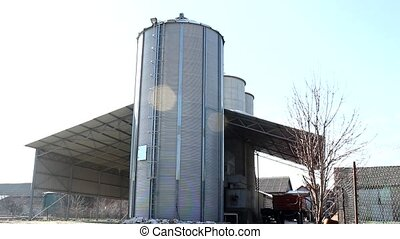 grain tank  silos in countryside