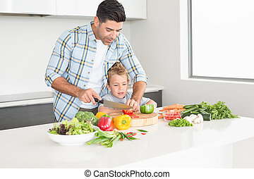 Father teaching his son how to chop vegetables at home in...