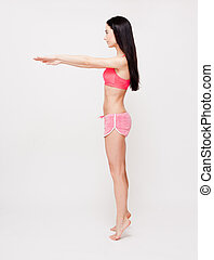 Yoga fitness - Portrait of beautiful young brunette woman...