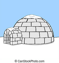 Igloo - Cartoon illustration showing an igloo in the middle...
