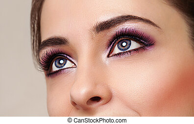 Beauty girl eyes with perfect bright makeup