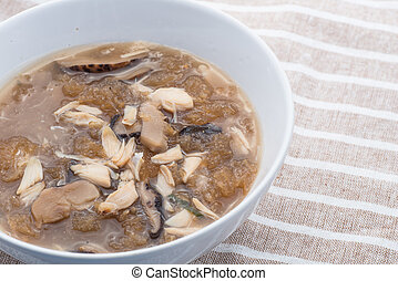 shark fin soup, Chinese style shark fin soup with mushroom...