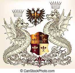 Heraldic design with dragons