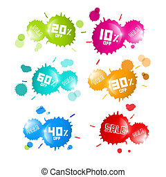 Colorful Vector Sale Blots Icons Set
