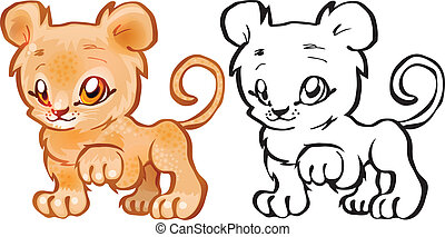 Small Lion - Africa - Coloring book