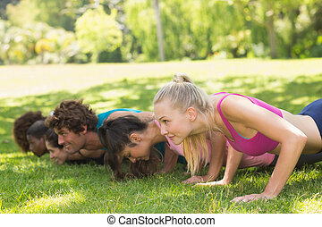 Group of fitness people doing push ups in park - Side view...
