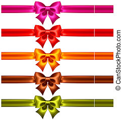 Festive bows in warm colors with ribbons - Vector...