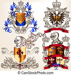 Vector set of heraldic shields in vintage style - Collection...