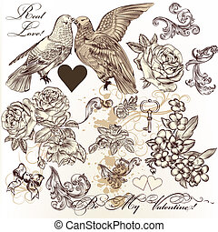 Vector set of vintage elements on a Valentine?s day theme