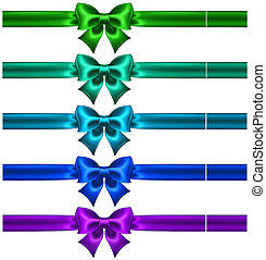 Festive bows in cool colors with ribbons - Vector...