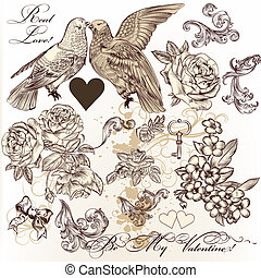 Vector set of vintage elements on love theme - Vector set of...