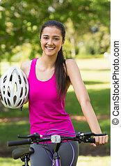 ヘルメット, 女,  bicycl, フィットしなさい, 乗馬