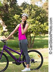 ヘルメット, 女, 自転車, フィットしなさい
