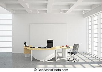 modernos, escritório, sótão, estilo