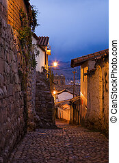 Evening in Cusco - Night shot of an old streets in the...