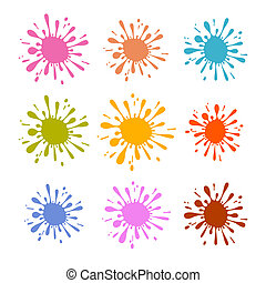 Colorful Vector Splash - Stain - Blot Illustration Set