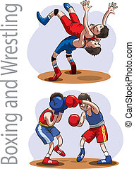 Boxing and Wrestling - Athletes engaged in wrestling and...
