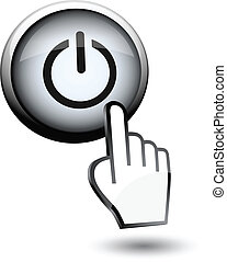 button switch off on and hand cursor on white background