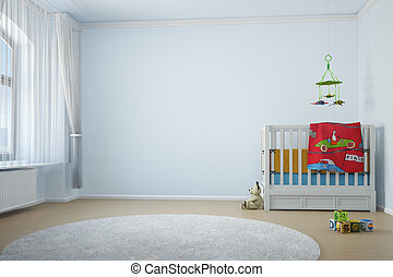 Nursery room with crip toys and window with curtain