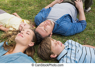 Family lying on grass with eyes closed at park - Relaxed...