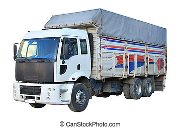 Cargo Truck - Blank white truck isolated on a white...