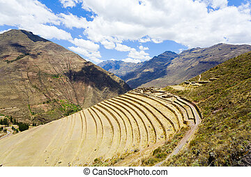Terraces at Pisac ruins - Hillside terraces at ruins of...