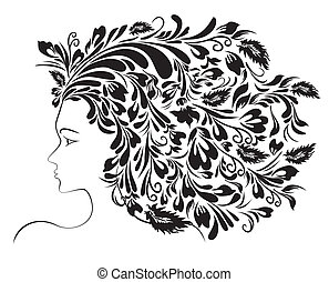 Girl Floral Hairstyle - Abstract females profile with floral...