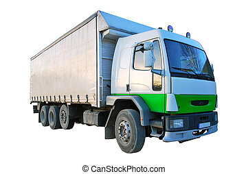 Cargo Truck - Blank white green truck isolated on a white...