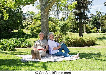 Smiling mature couple sitting against tree at park -...