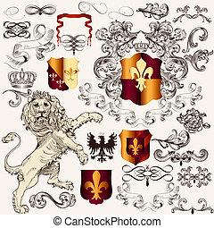 Heraldic set of vector design elements in vintage style -...