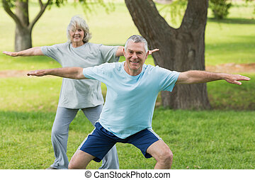 Smiling mature couple exercising at park - Portrait of a...