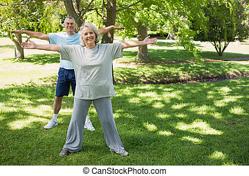 Portrait of mature couple stretching hands at park - Full...