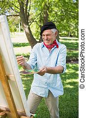 Pintura, hombre, parque, Maduro, feliz
