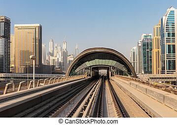 Metro subway tracks in the United Arab Emirates - DUBAI, UAE...