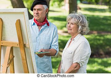 mujer, Mirar, parque, Pintura, Maduro, hombre