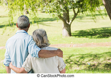 Rear view of loving mature couple at park - Rear view of a...